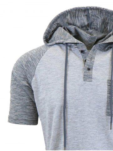 Discount Panel Design Hooded Drawstring Raglan Sleeve T-shirt - 2XL LIGHT GRAY Mobile