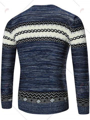 Fashion Space Dyed Crew Neck Geometric Sweater - 2XL BLUE Mobile