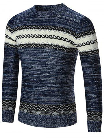 Chic Space Dyed Crew Neck Geometric Sweater - L BLUE Mobile