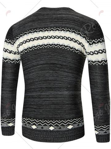 Trendy Space Dyed Crew Neck Geometric Sweater - L BLACK Mobile