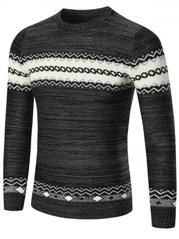Trendy Space Dyed Crew Neck Geometric Sweater - M BLACK Mobile