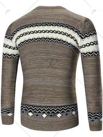 Cheap Space Dyed Crew Neck Geometric Sweater - L KHAKI Mobile