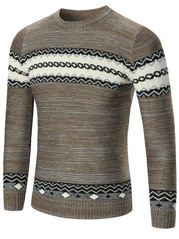 Best Space Dyed Crew Neck Geometric Sweater - L KHAKI Mobile