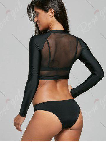Fancy Push Up Bikini with Long Sleeve Mesh Top - L BLACK Mobile
