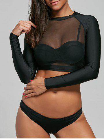 Fashion Push Up Bikini with Long Sleeve Mesh Top - L BLACK Mobile