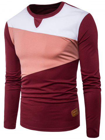 Long Sleeve PU Leather Applique Panel Design T-shirt - Wine Red - 2xl