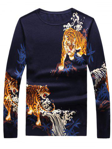 Discount 3D Tigers Print Crew Neck Long Sleeve Sweater - 2XL CADETBLUE Mobile