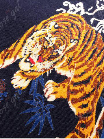 New 3D Tigers Print Crew Neck Long Sleeve Sweater - 2XL CADETBLUE Mobile