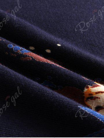 Fashion 3D Tigers Print Crew Neck Long Sleeve Sweater - 3XL CADETBLUE Mobile
