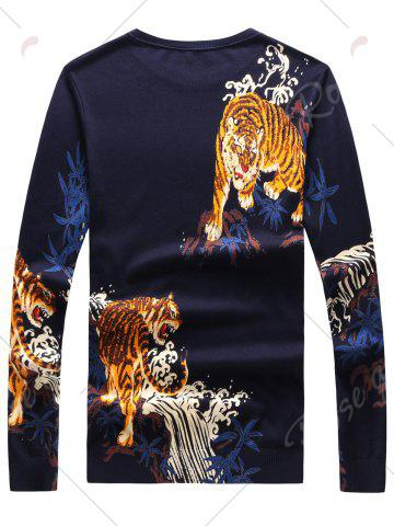 Discount 3D Tigers Print Crew Neck Long Sleeve Sweater - 3XL CADETBLUE Mobile