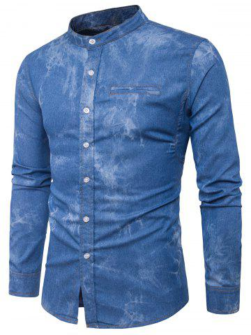Cheap Long Sleeve Edging Tie Dye Denim Shirt BLUE L