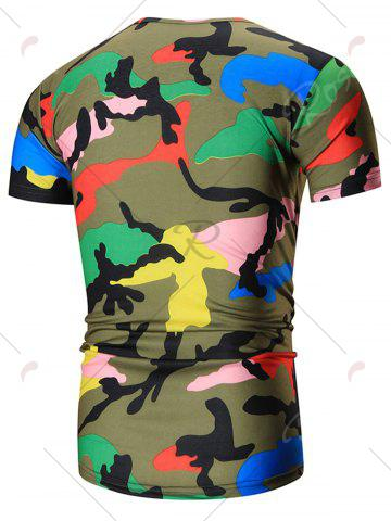 Cheap Colorful Short Sleeve Camouflage Tee - XL GREEN Mobile