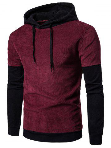 Long Sleeve Color Block Panel Corduroy Hoodie - Wine Red - Xl