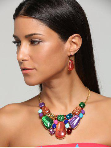 Faux Gemstone Retro Statement Necklace Set - Jacinth - 2xl