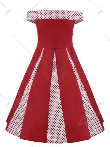 Latest Plus Size Off The Shoulder Vintage Cocktail Dress - 3XL RED Mobile