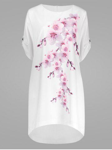Online Peach Blossom Plus Size Casual Modest Dress with Pockets - 3XL PEACH RED Mobile