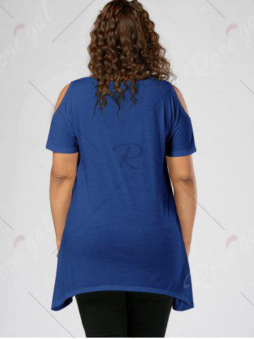 Shop Splatter Paint Plus Size Cold Shoulder T-shirt - XL BLUE Mobile
