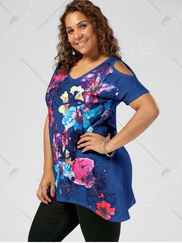Trendy Splatter Paint Plus Size Cold Shoulder T-shirt - XL BLUE Mobile