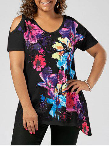 Chic Splatter Paint Plus Size Cold Shoulder T-shirt BLACK XL