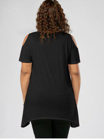 Outfit Splatter Paint Plus Size Cold Shoulder T-shirt - 5XL BLACK Mobile