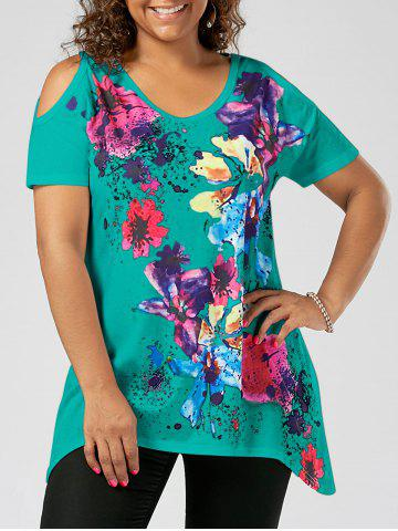 Cheap Splatter Paint Plus Size Cold Shoulder T-shirt LAKE GREEN 5XL