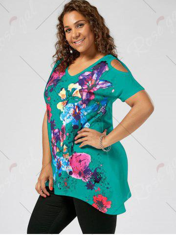 Outfit Splatter Paint Plus Size Cold Shoulder T-shirt - 5XL LAKE GREEN Mobile