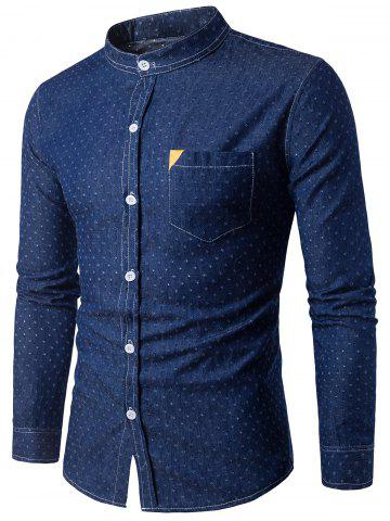 Online PU Leather Embellished Pocket Holes Design Denim Shirt DEEP BLUE 2XL