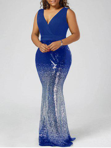Sale Plus Size Sequins Fishtail Maxi Evening Prom Dress