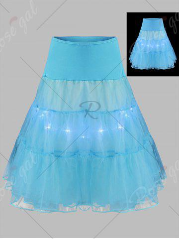 Affordable Plus Size Cosplay Light Up Party Skirt - 2XL LIGHT BLUE Mobile