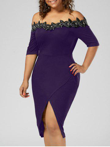 Hot Plus Size Off the Shoulder Applique Pencil Dress