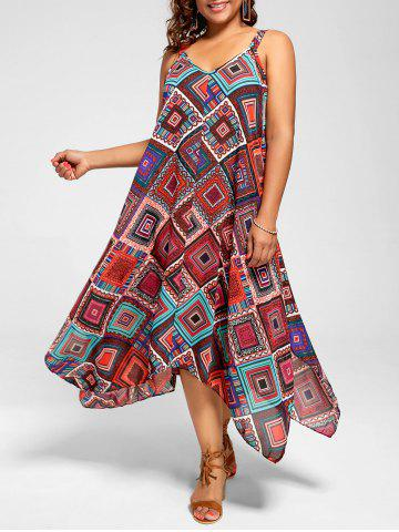 Outfits Spaghetti Strap Geometric Printed Plus Size Handkerchief Dress - 3XL MULTI Mobile