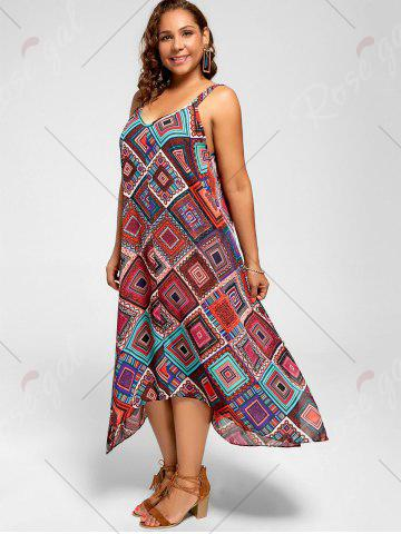 Buy Spaghetti Strap Geometric Printed Plus Size Handkerchief Dress - 3XL MULTI Mobile