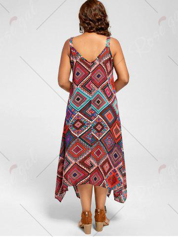 Unique Spaghetti Strap Geometric Printed Plus Size Handkerchief Dress - 3XL MULTI Mobile