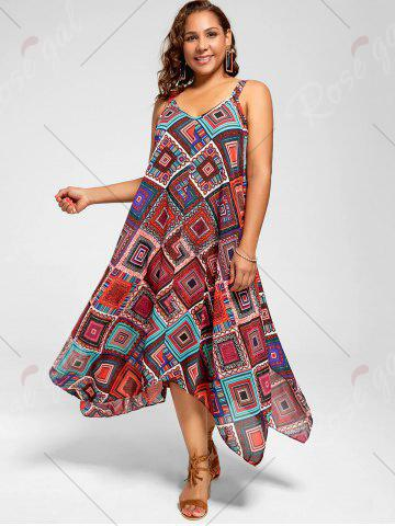 Fancy Spaghetti Strap Geometric Printed Plus Size Handkerchief Dress - 3XL MULTI Mobile