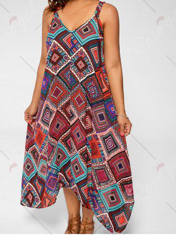 Chic Spaghetti Strap Geometric Printed Plus Size Handkerchief Dress - 3XL MULTI Mobile