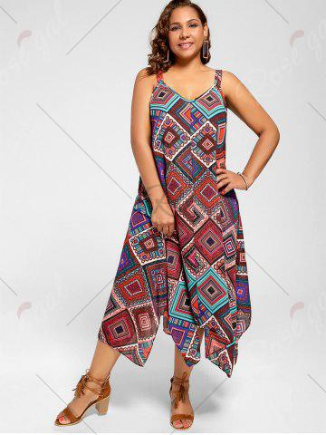 Trendy Spaghetti Strap Geometric Printed Plus Size Handkerchief Dress - 3XL MULTI Mobile