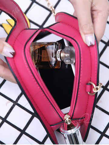 Unique Flamingo Shaped Chain Crossbody Bag - ROSE RED  Mobile