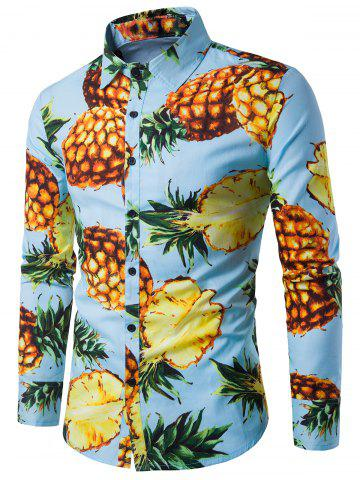 Long Sleeve 3D Pineapple Print Shirt - Blue - Xl