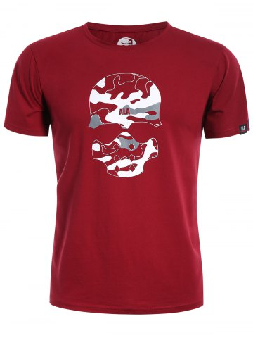 Chic Skull Print Graphic Camo Men Tee - 2XL RED Mobile