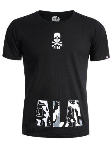 Fashion Skull Print Graphic T Shirt - L BLACK Mobile