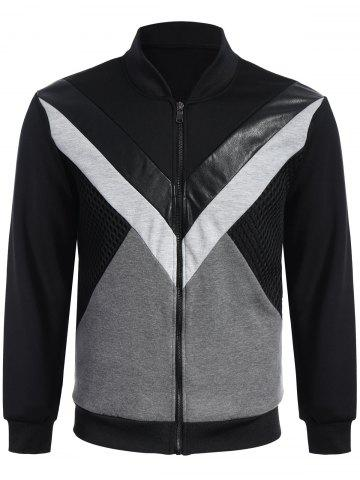 Online Patchwork PU Leather Panel Jacket