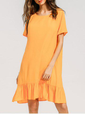 Fashion Ruffled Hem Keyhole Casual Dress