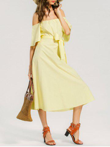 Hot Off Shoulder Belted Casual Dress