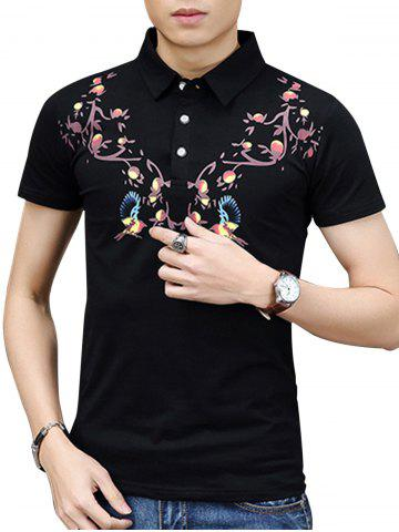 Fancy Chinoiserie Print Polo Shirt