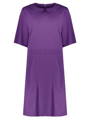 Fashion Collared Plus Size A Line Dress with Pockets