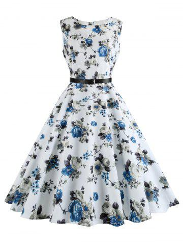 Unique Floral Print Plus Size Vintage Swing Dress with Belt