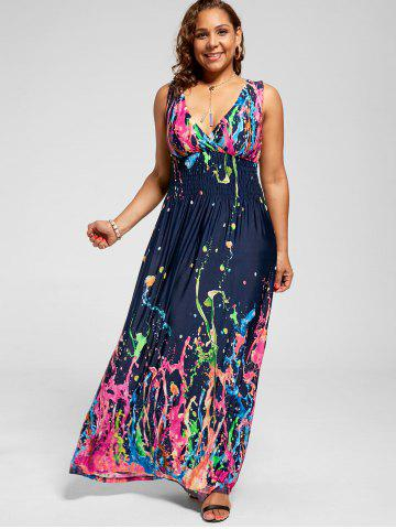 Empire Waist Sleeveless Plus Size Maxi Splatter Print Dress 63bf6e59d207