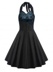 Vintage Boutons Halter Fit et Flare Dress - Noir