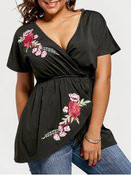 Floral Embroidery Plus Size Top