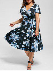 Plus Size V Neck Floral Tea Length Dress - Blue - 3xl